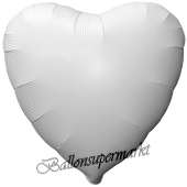 Herzluftballon aus Folie, Matt Weiß, Satinglanz, mit Ballongas-Helium