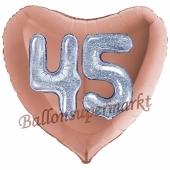Herzluftballon Jumbo Zahl 45, rosegold-silber-holografisch mit 3D-Effekt zum 45. Geburtstag