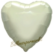 Herzluftballon Elfenbein, Ballon in Herzform mit Ballongas Helium