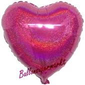 Holografischer Herzluftballon aus Folie, Fuchsia, mit Ballongas Helium