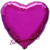 Herzluftballon Fuchsia, Ballon in Herzform mit Ballongas Helium