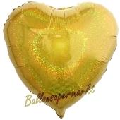 Holografischer Herzluftballon aus Folie, Gold, mit Ballongas Helium