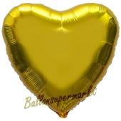 Herzluftballon Gold, Ballon in Herzform mit Ballongas Helium