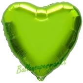 Herzluftballon Limonengrün, Ballon in Herzform mit Ballongas Helium
