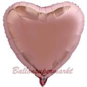 Herzluftballon aus Folie, Rosegold, mit Ballongas Helium