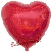 Holografischer Herzluftballon aus Folie, Rot, mit Ballongas Helium