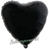 Herzluftballon aus Folie, Schwarz, mit Ballongas Helium