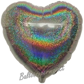 Holografischer Herzluftballon aus Folie, Silber, mit Ballongas Helium