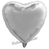 Herzluftballon aus Folie, Silber, inklusive Helium