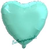 Herzluftballon aus Folie, Türkis, mit Ballongas Helium