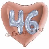 Herzluftballon Jumbo Zahl 46, rosegold-silber-holografisch mit 3D-Effekt zum 46. Geburtstag