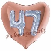 Herzluftballon Jumbo Zahl 47, rosegold-silber-holografisch mit 3D-Effekt zum 47. Geburtstag