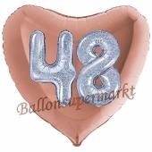 Herzluftballon Jumbo Zahl 48, rosegold-silber-holografisch mit 3D-Effekt zum 48. Geburtstag