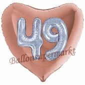 Herzluftballon Jumbo Zahl 49, rosegold-silber-holografisch mit 3D-Effekt zum 49. Geburtstag