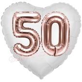Luftballon Herz Jumbo 50, rosegold mit 3D-Effekt zum 50. Geburtstag