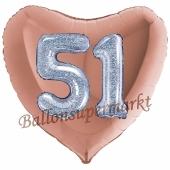 Herzluftballon Jumbo Zahl 51, rosegold-silber-holografisch mit 3D-Effekt zum 51. Geburtstag