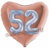 Herzluftballon Jumbo Zahl 52, rosegold-silber-holografisch mit 3D-Effekt zum 52. Geburtstag