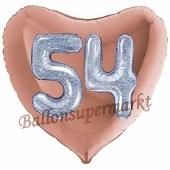 Herzluftballon Jumbo Zahl 54, rosegold-silber-holografisch mit 3D-Effekt zum 54. Geburtstag
