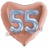 Herzluftballon Jumbo Zahl 55, rosegold-silber-holografisch mit 3D-Effekt zum 55. Geburtstag