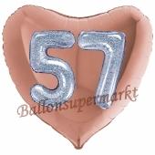 Herzluftballon Jumbo Zahl 57, rosegold-silber-holografisch mit 3D-Effekt zum 57. Geburtstag