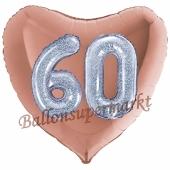 Herzluftballon Jumbo Zahl 60, rosegold-silber-holografisch mit 3D-Effekt zum 60. Geburtstag
