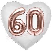 Luftballon Herz Jumbo 60, rosegold mit 3D-Effekt zum 60. Geburtstag