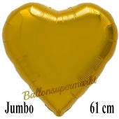 Großer Herzluftballon Gold, Ballon in Herzform mit Ballongas Helium