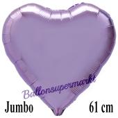 Großer Herzluftballon Flieder, Ballon in Herzform mit Ballongas Helium
