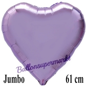 Großer Luftballon aus Folie in Herzform, Flieder