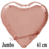 Großer Herzluftballon Rose Gold, Ballon in Herzform mit Ballongas Helium