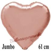Großer Luftballon aus Folie in Herzform, rose gold