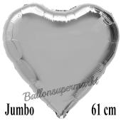 Großer Herzluftballon Silber, Ballon in Herzform mit Ballongas Helium
