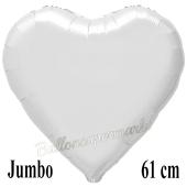 Großer Herzluftballon Weiß, Ballon in Herzform mit Ballongas Helium