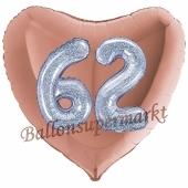 Herzluftballon Jumbo Zahl 62, rosegold-silber-holografisch mit 3D-Effekt zum 62. Geburtstag