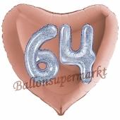 Herzluftballon Jumbo Zahl 64, rosegold-silber-holografisch mit 3D-Effekt zum 64. Geburtstag
