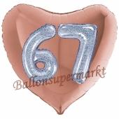 Herzluftballon Jumbo Zahl 67, rosegold-silber-holografisch mit 3D-Effekt zum 67. Geburtstag
