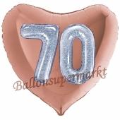 Herzluftballon Jumbo Zahl 70, rosegold-silber-holografisch mit 3D-Effekt zum 70. Geburtstag