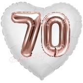 Luftballon Herz Jumbo 70, rosegold mit 3D-Effekt zum 70. Geburtstag