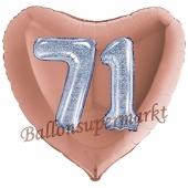 Herzluftballon Jumbo Zahl 71, rosegold-silber-holografisch mit 3D-Effekt zum 71. Geburtstag