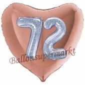 Herzluftballon Jumbo Zahl 72, rosegold-silber-holografisch mit 3D-Effekt zum 72. Geburtstag