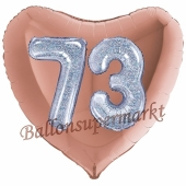 Herzluftballon Jumbo Zahl 73, rosegold-silber-holografisch mit 3D-Effekt zum 73. Geburtstag
