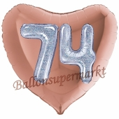 Herzluftballon Jumbo Zahl 74, rosegold-silber-holografisch mit 3D-Effekt zum 74. Geburtstag