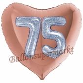 Herzluftballon Jumbo Zahl 75, rosegold-silber-holografisch mit 3D-Effekt zum 75. Geburtstag