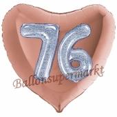 Herzluftballon Jumbo Zahl 76, rosegold-silber-holografisch mit 3D-Effekt zum 76. Geburtstag
