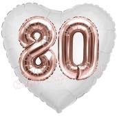 Luftballon Herz Jumbo 80, rosegold mit 3D-Effekt zum 80. Geburtstag