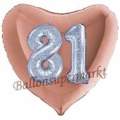 Herzluftballon Jumbo Zahl 81, rosegold-silber-holografisch mit 3D-Effekt zum 81. Geburtstag