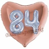 Herzluftballon Jumbo Zahl 84, rosegold-silber-holografisch mit 3D-Effekt zum 84. Geburtstag