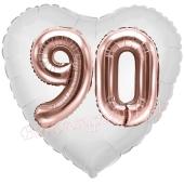 Luftballon Herz Jumbo 90, rosegold mit 3D-Effekt zum 90. Geburtstag