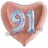 Herzluftballon Jumbo Zahl 91, rosegold-silber-holografisch mit 3D-Effekt zum 91. Geburtstag