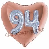 Herzluftballon Jumbo Zahl 94, rosegold-silber-holografisch mit 3D-Effekt zum 94. Geburtstag